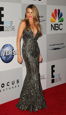Sofia Vergara in a very low-cut dress for the 2014 Golden Globes after-parties