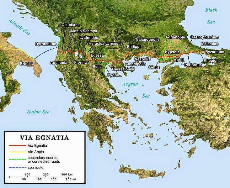 The route of the Via Egnatia