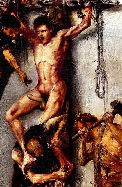 image Punished temple slave is bound and made to worship huge cock