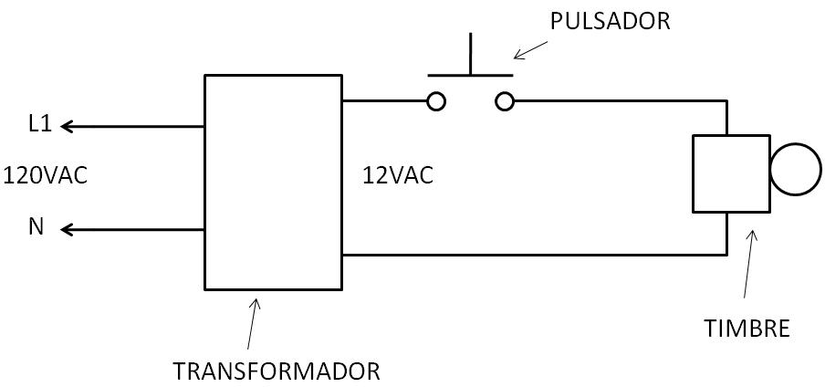 Circuito simple de control de timbre con pulsador