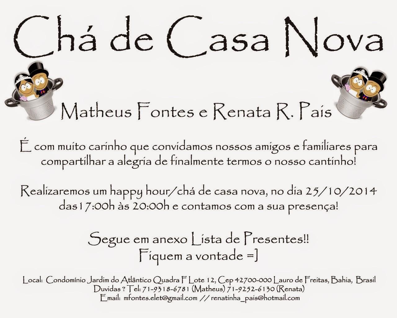 Populares Chá de Casa Nova - Renata e Matheus 25/10/2014 ZM61