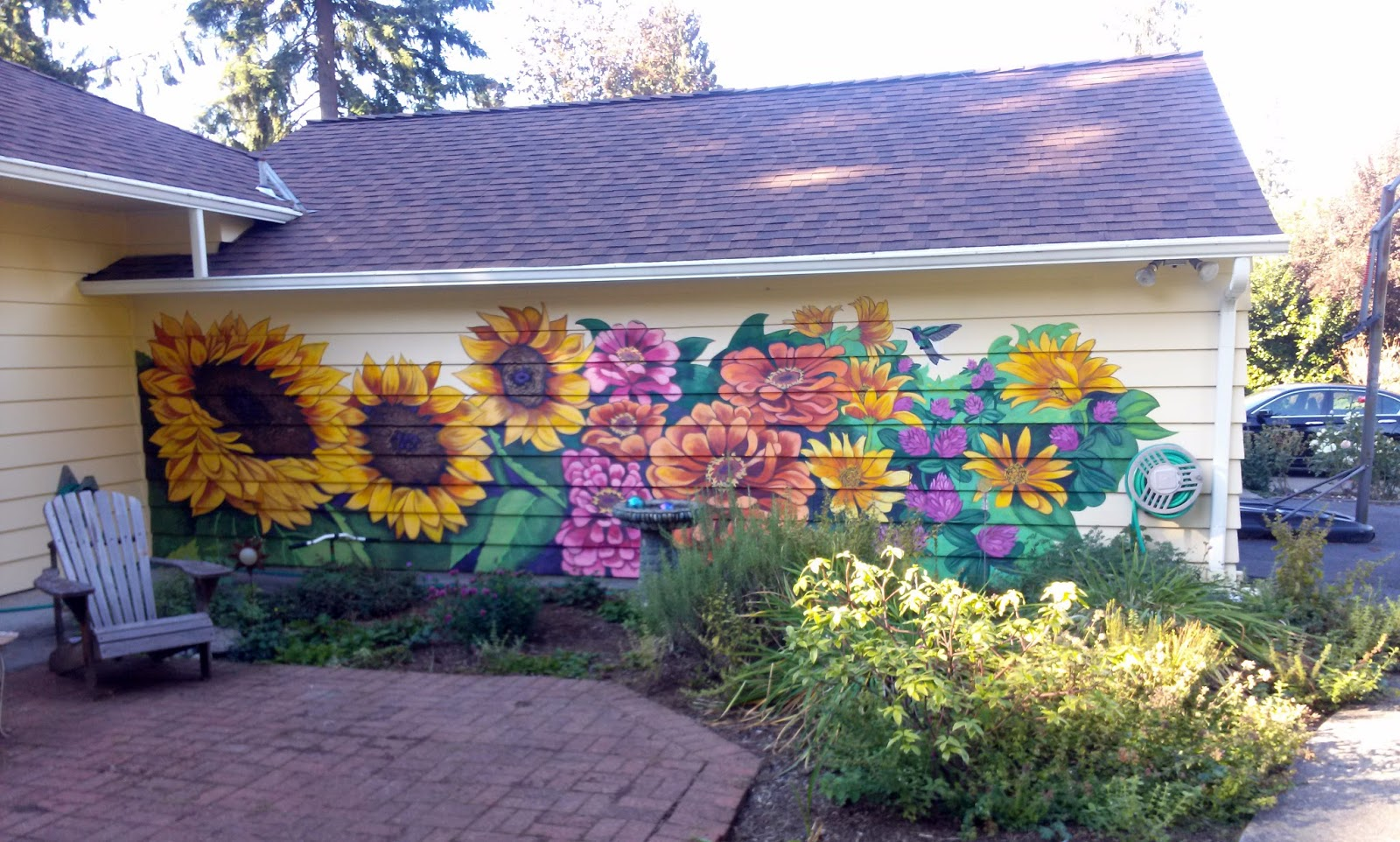 The talking walls a garden for winter for Exterior mural paint