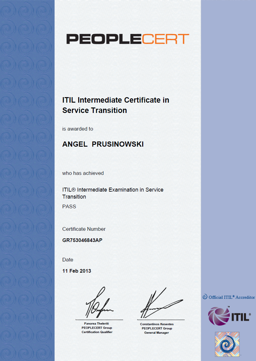 My Itil Service Transition St Certificate My Itil Life