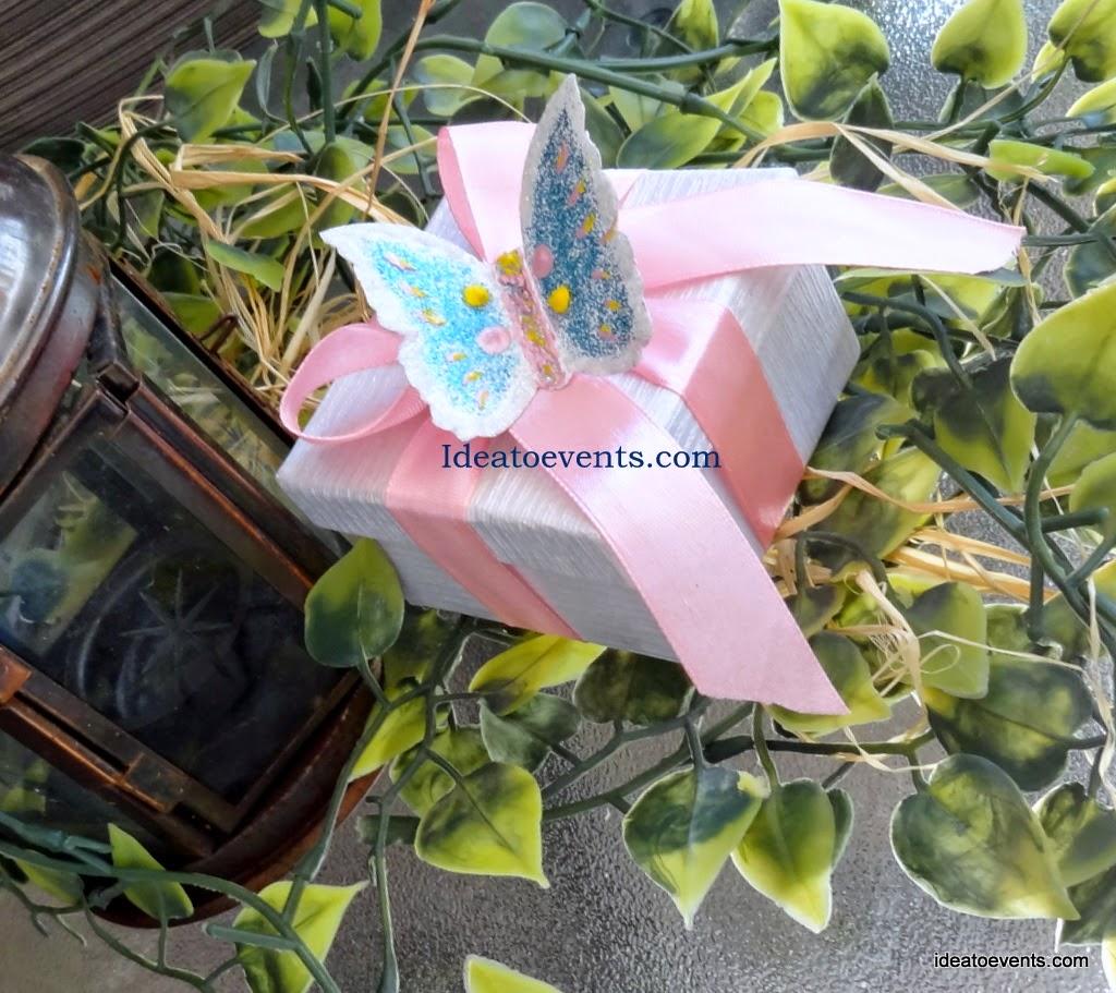 Μπομπονιέρα βάπτισης πεταλούδα ζωγραφική χειροποίητη