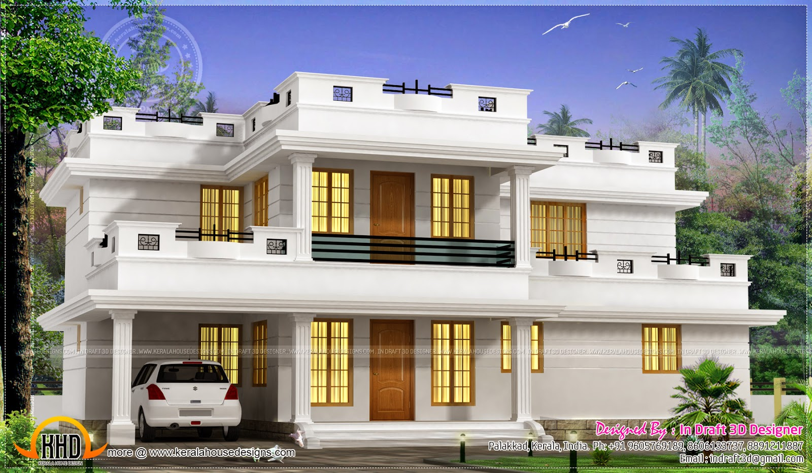 ... square feet 4 bhk flat roof house - Kerala home design and floor plans