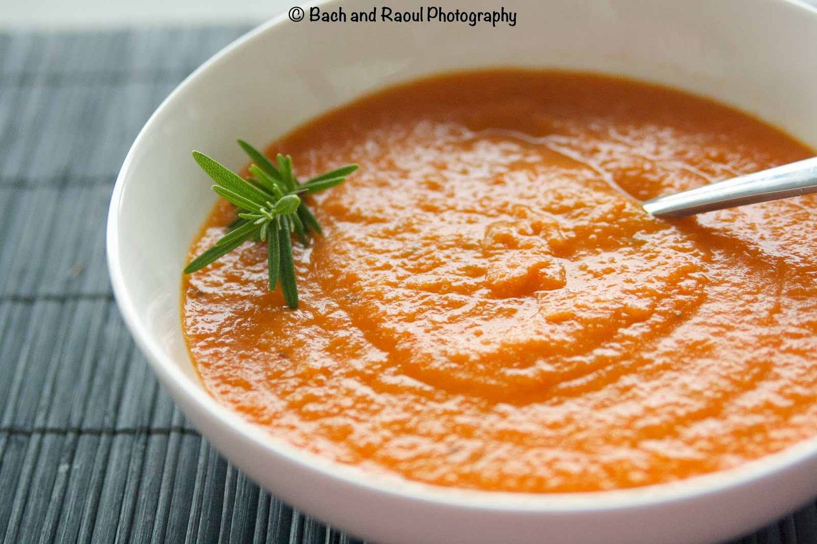 Roasted Bell Pepper and Tomato Soup with Black Pepper and Rosemary - Vegan