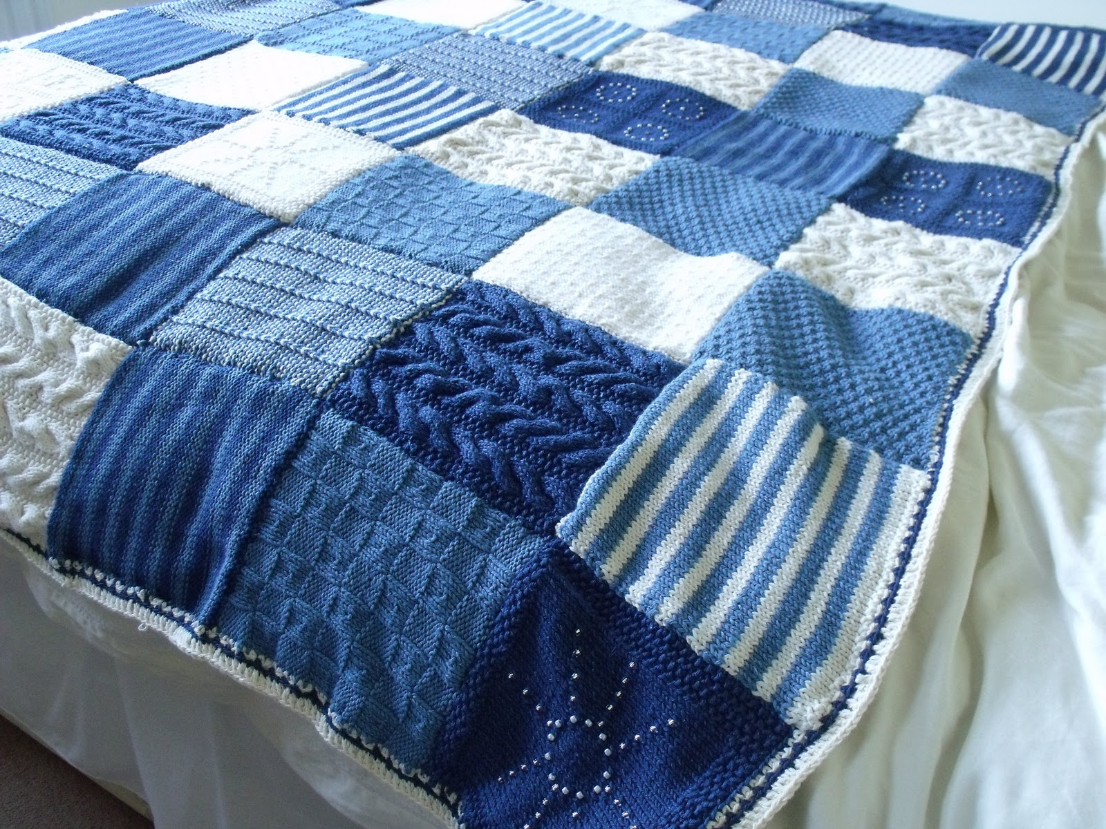 Knitting Pattern For A Throw Blanket : Knit It, Grow It, Cook It: Knitted blanket finished.