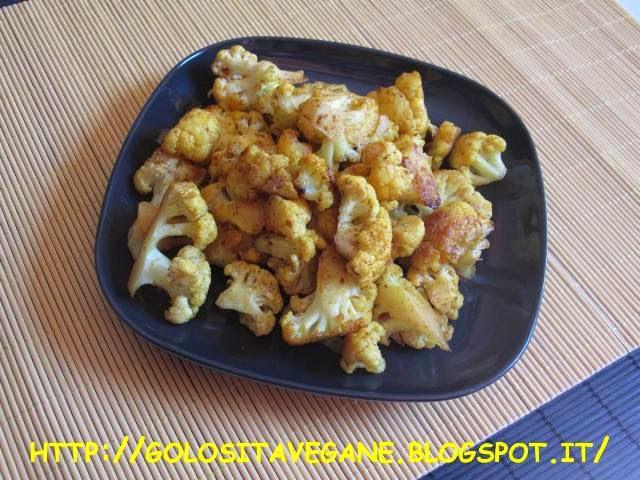 aglio, cavolfiore, Contorni, curcuma, paprika, ricette vegan,