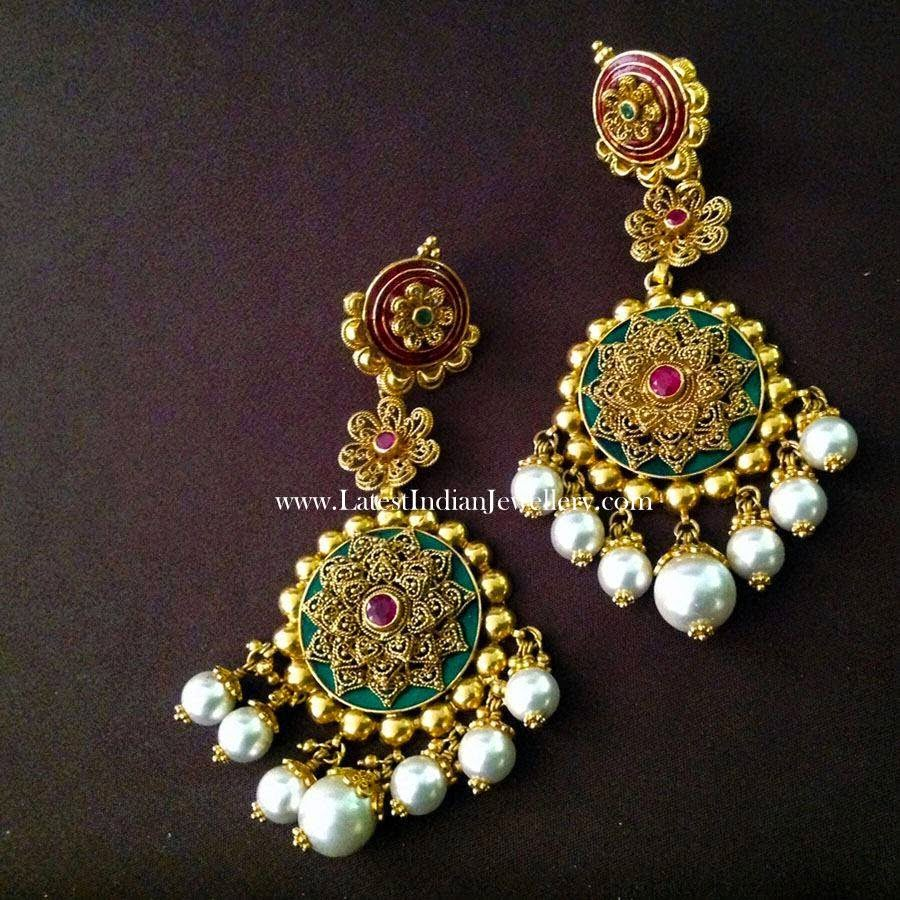 Modern Bridal Gold Earrings