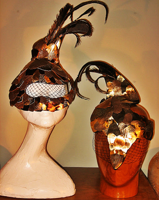 Sarah Cant Couture Millinery finished pangolin masks for The Elephant Family Charity Animal Ball 2013