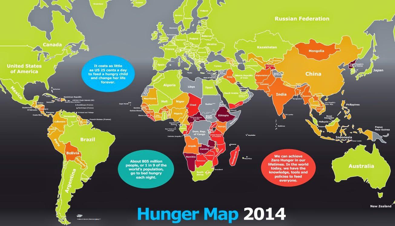 Hunger Map 2014 栄養不足マップ 世界地図