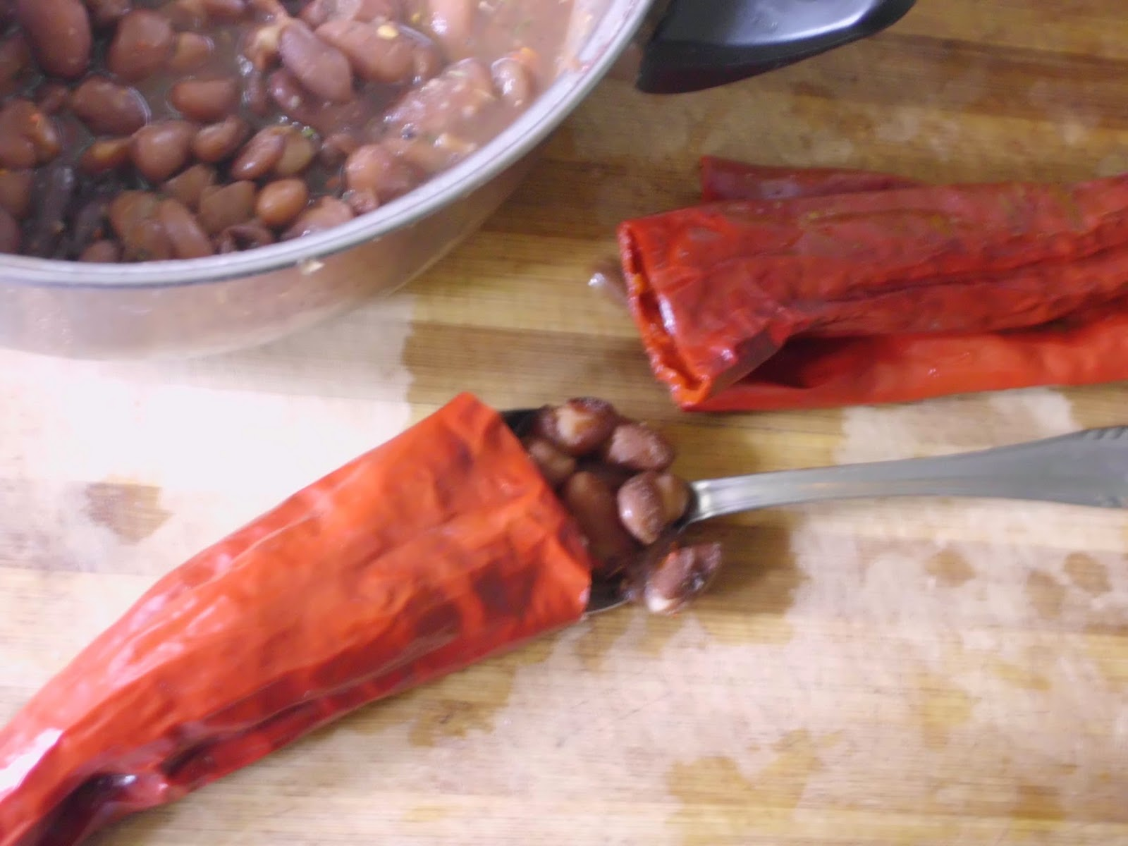 stuffing peppers with beans