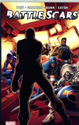 An armed man faces Nick Fury, Captain America, and Hawkeye