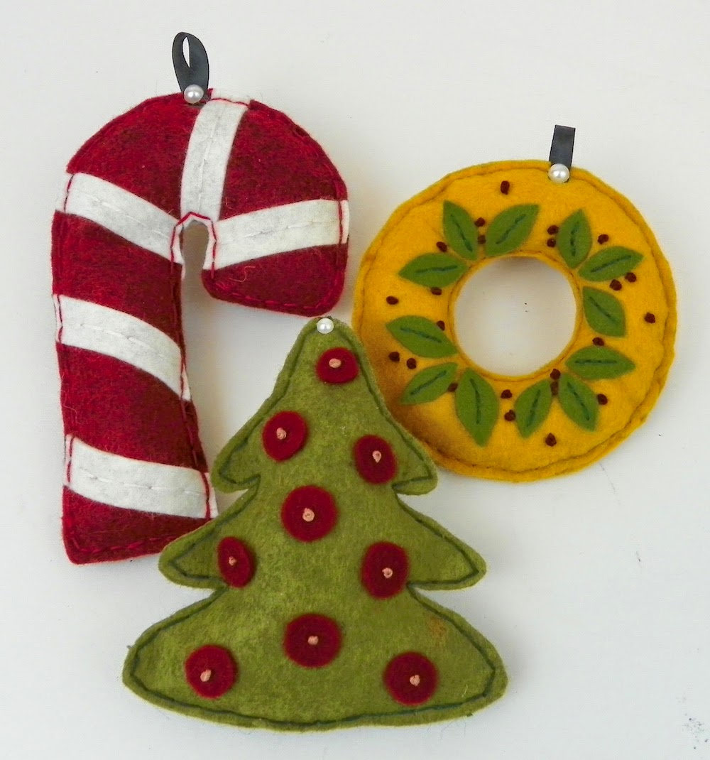 felt embroidered ornaments lisa fulmer