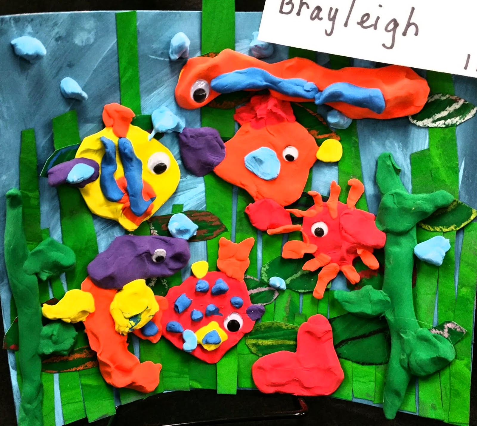 Paintbrush Rocket: First Grade Fish Collages with Cloud Clay