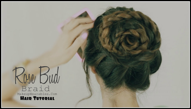Rose+Bud+Braided+Bun+2 Rose Bud, Flower Braid Bun | Cute Updo Hairstyles Hair Tutorial Video