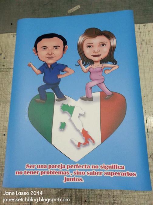 Caricatura en pareja impresa para san valentín