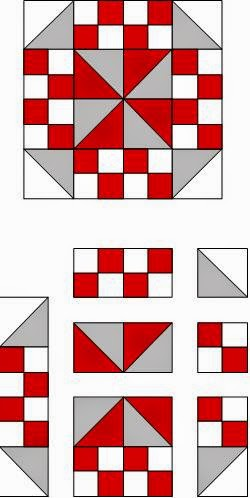 Simple Free Quilt Pattern using Squares and Triangles