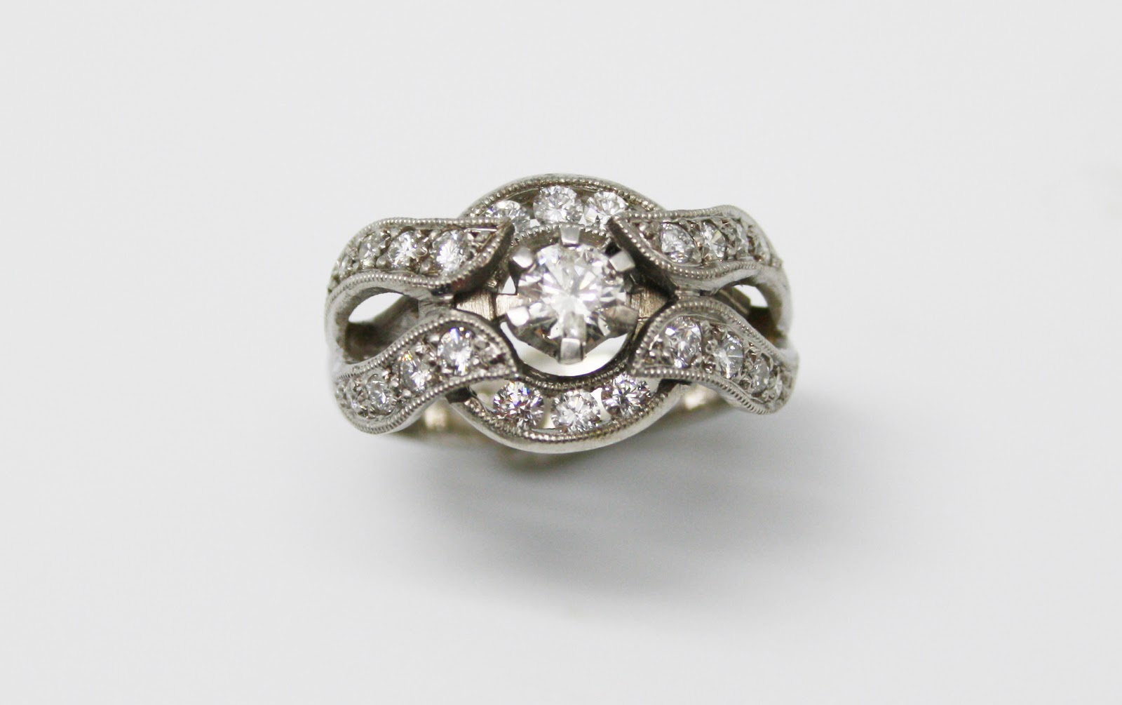 edwardian vintage diamond die blossom engagement style rings struck ring products
