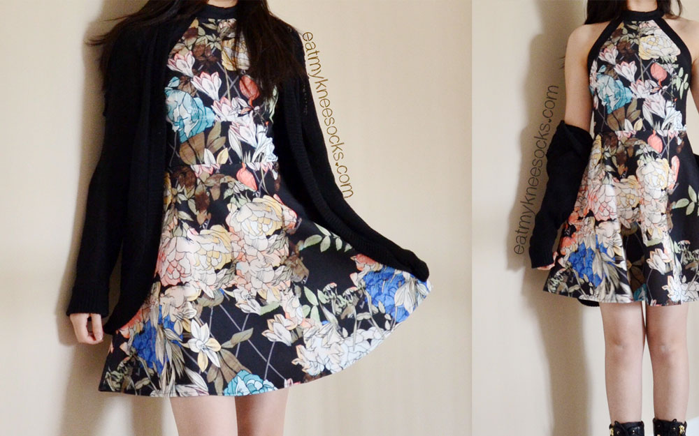 The SheInside black floral skater dress, modeled with a Forever 21 cardigan and Guess heeled boots.