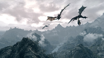 pack of 3 dragons flying