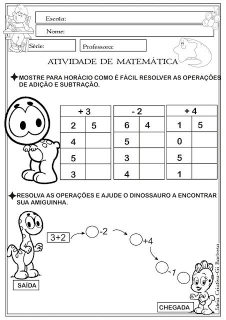 Atividade Matemática Adição e Subtração