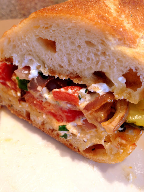 Grilled Veggie and Goat Cheese Sandwich