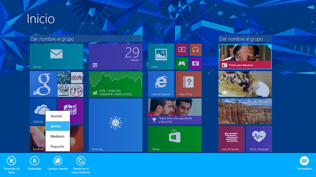 Cambiar tamaño iconos Windows 8.1