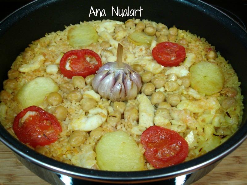 La cocinera de b tulo arroz al horno con bacalao el for Como cocinar bacalao al horno