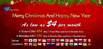 Noël et Nouvel An offre 2013 - FlyVPN propose prix aussi bas que 4 $ par mois