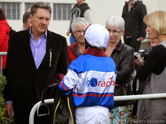 Darryl Bradley, fifth place, talking to the owners of Ruud Awakening, Race 6, New Zealand Bloodstock Finance and Leasing Sprint $50,000, 1200m - Hawke's Bay Gold Cup Race Day at Hastings Racecourse, Hastings. photograph