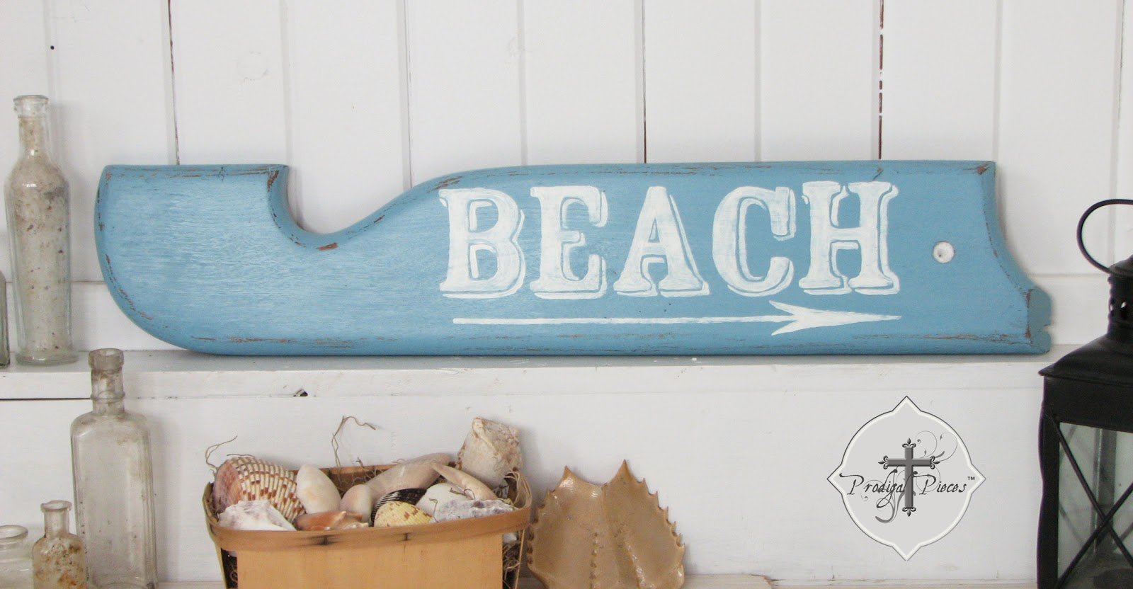 "Upcycled Oak Morris Rocker Arm Handpainted ""Beach"" Sign via Prodigal Pieces"
