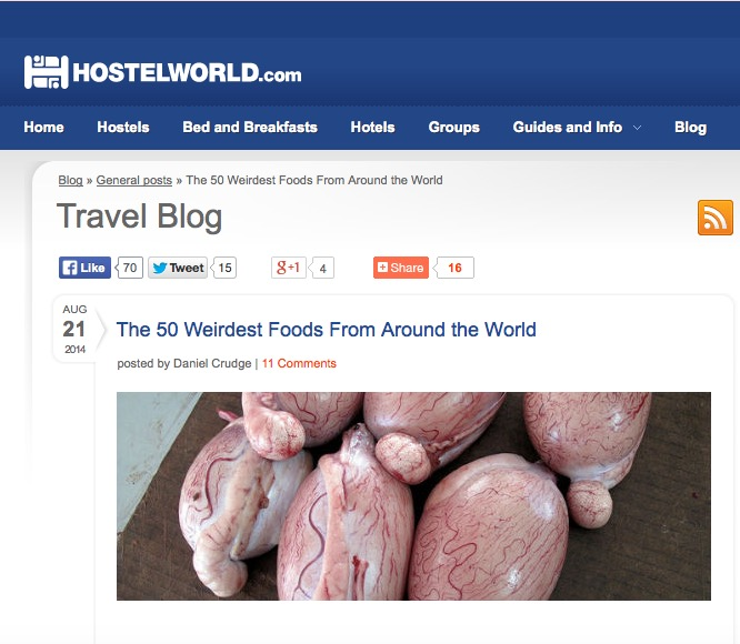 http://www.hostelworld.com/blog/the-50-weirdest-foods-from-around-the-world/158695