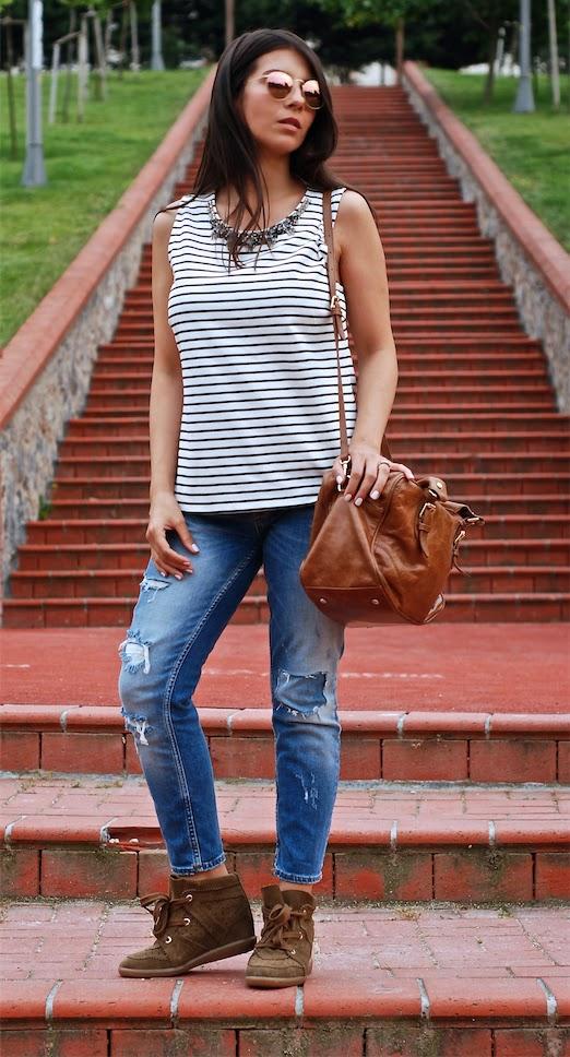 jcrew blouse,jcrew necklace,jcrew jewelry,streetstyle,fashionblogger,isabel marant boots, isabel marant sneakers,zara jean,rayban round mirror,trendydolap