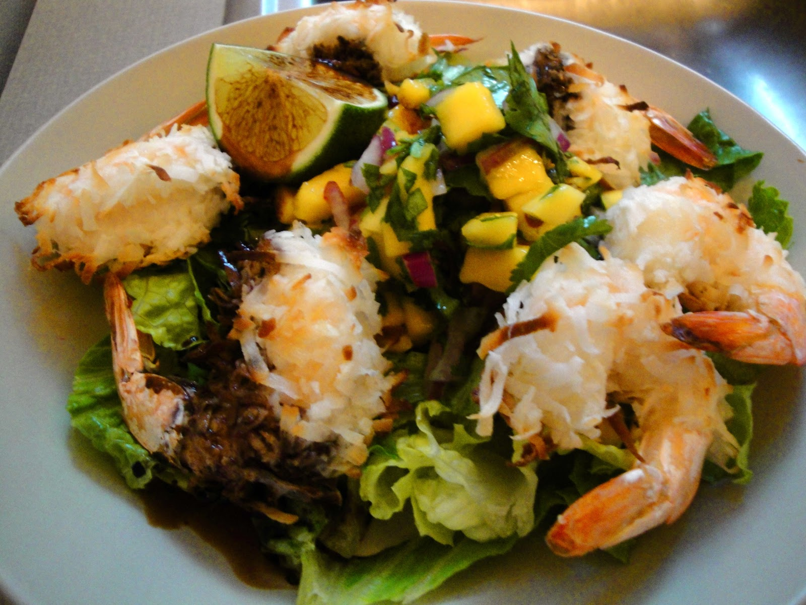 ... Table: Dinner Tonight: Coconut Shrimp Salads with Fresh Mango Salsa