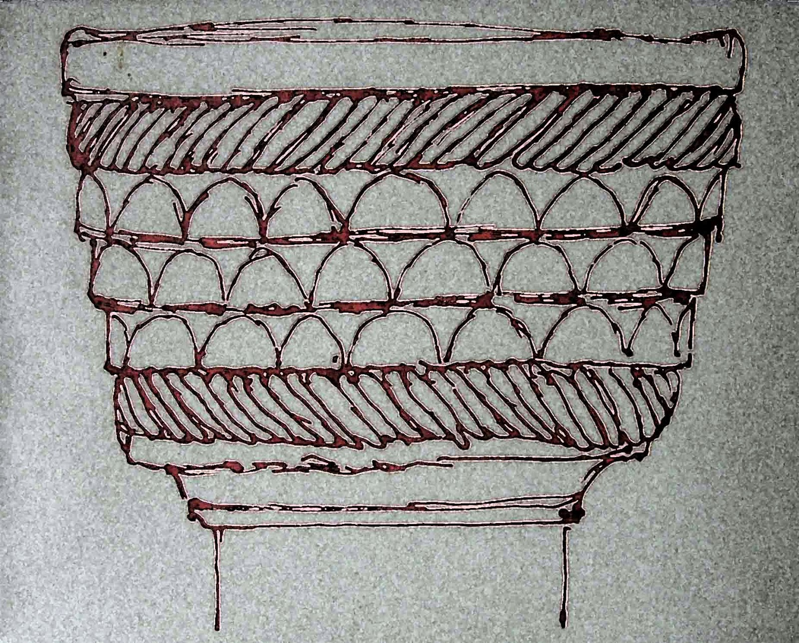 Norman font with scale design at Bremhill, Wiltshire