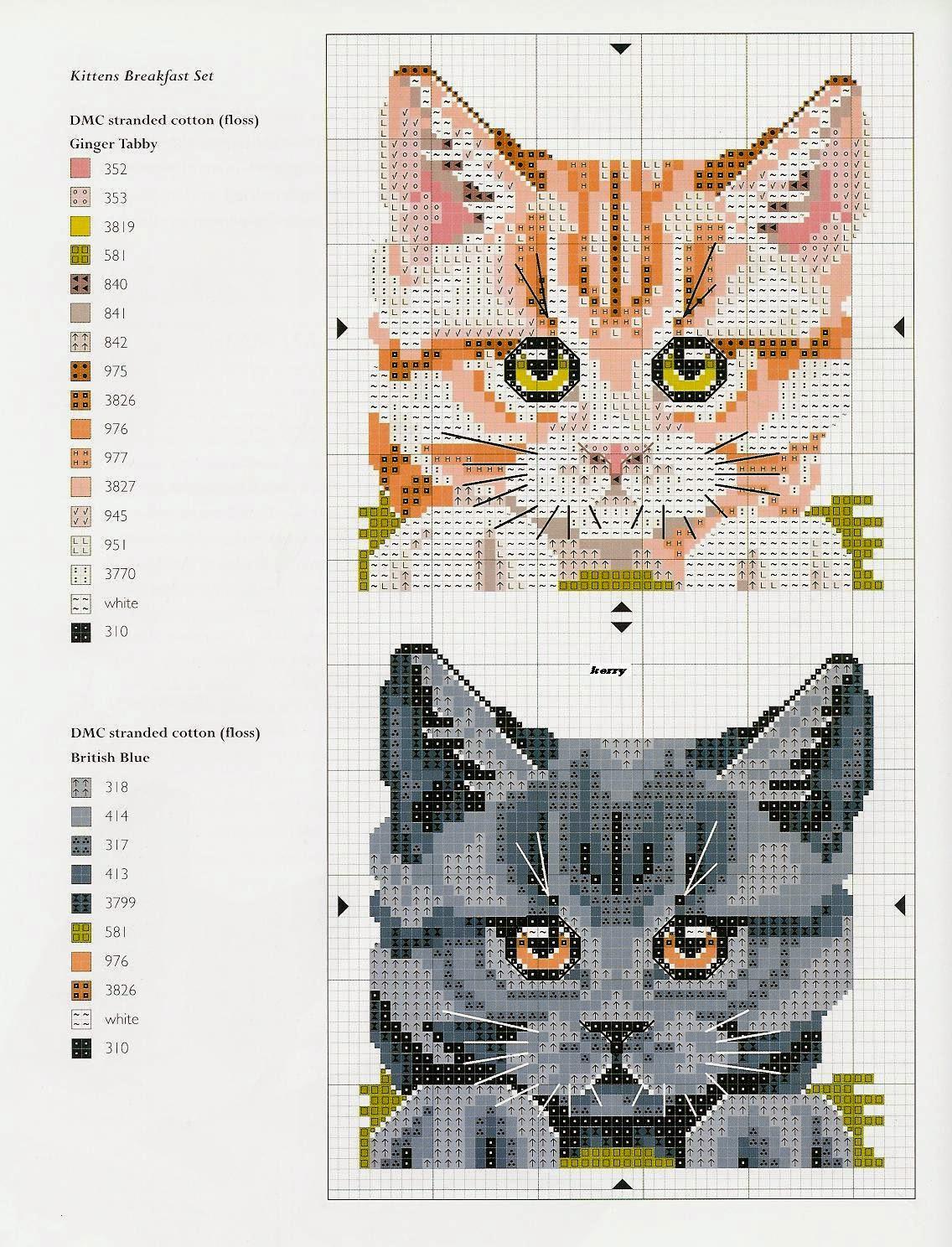 Схема для вышивки бисером кошки 822