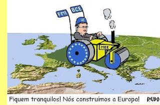 UE; BCE; FMI; MEE; Bruxelas; Mapa da Europa; Conjunto dos Países da Zona Euro; Contribuir;  Fundo de Resgate Permanente; Mecanismo de Estabilizção do Euro; Tratao de Escravos da Europa