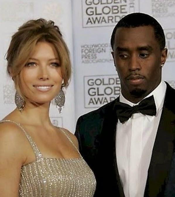 P. Diddy mengintip sesuatu yang dianggap menarik di dada Jessica Biel