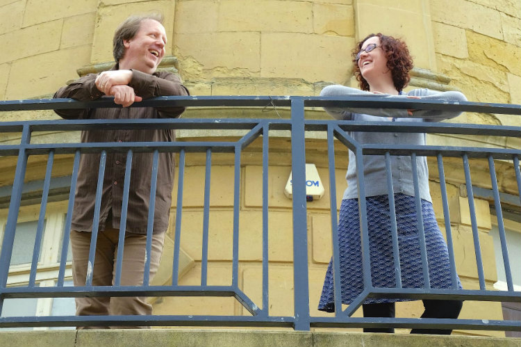 John Pattison and Rachael Drew on the balcony at the Rotunda Museum, where Rock, Rascals and Revolution! will be performed