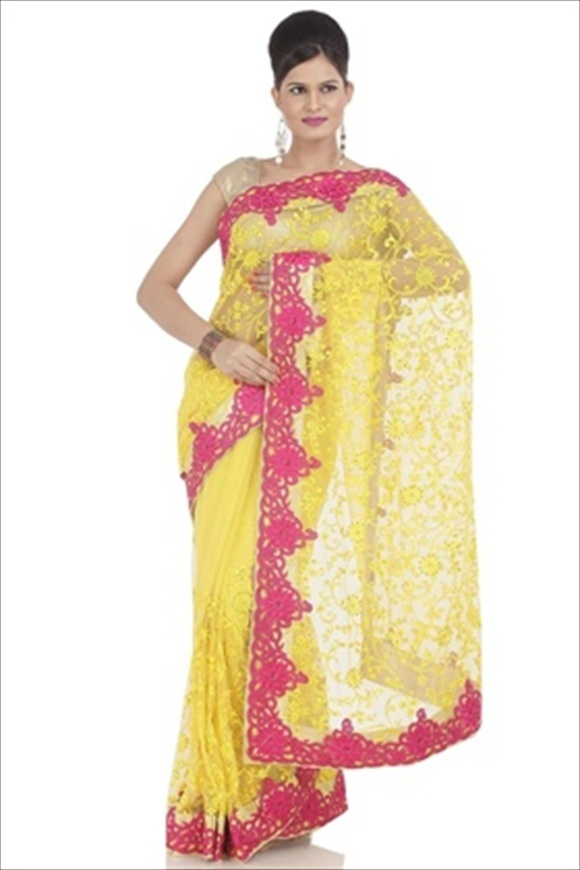 CHROME LEMON NET SAREE leatest