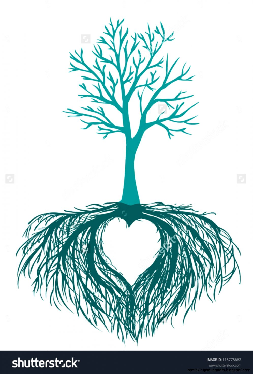 Vector Beautiful Tree With The Heart Shaped Root Isolated White