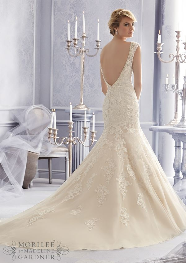 Mori Lee 2672: V-Neck Mermaid Wedding Dress Embroidery Net Bridal ...