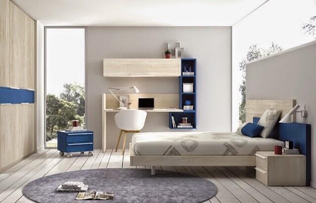 Habitacion para niño adulto azul y madera