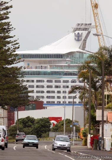 Voyager of the Seas, a large cruise ship reversing into Napier Port, pictured from Hardinge Rd, Ahuriri, Napier photograph