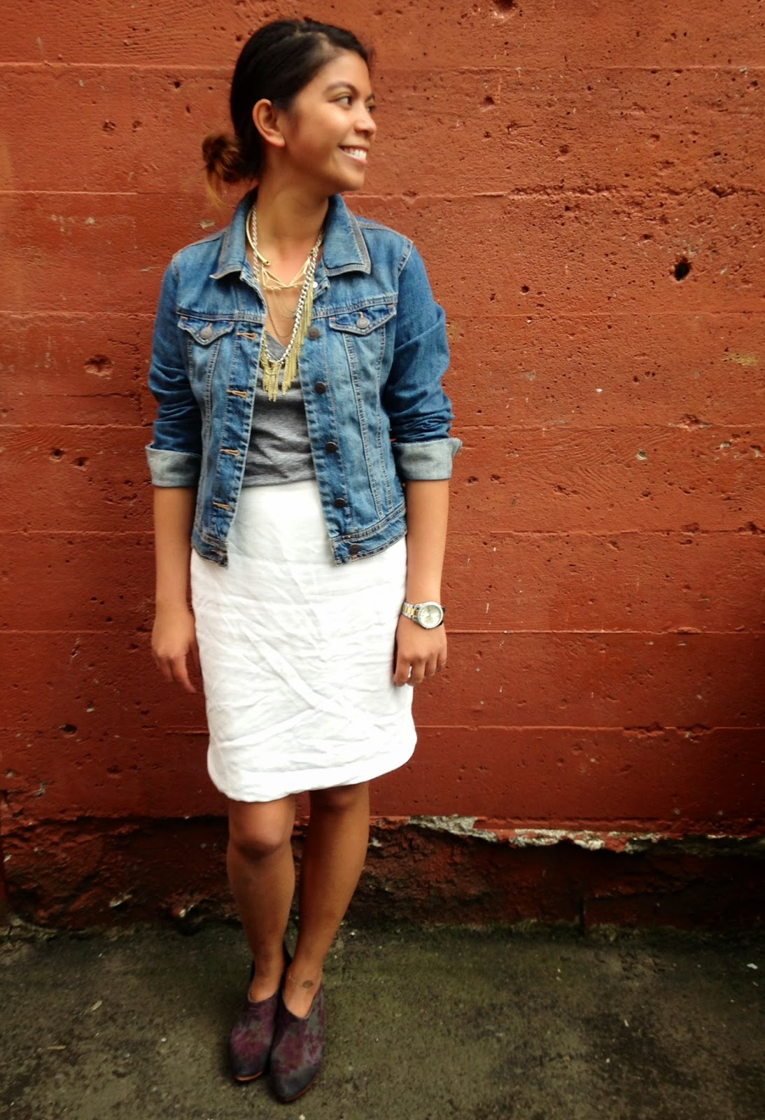portland blogger, fashion blogger, outfit of the day, look of the day, white skirt, old navy, booties, thrifted