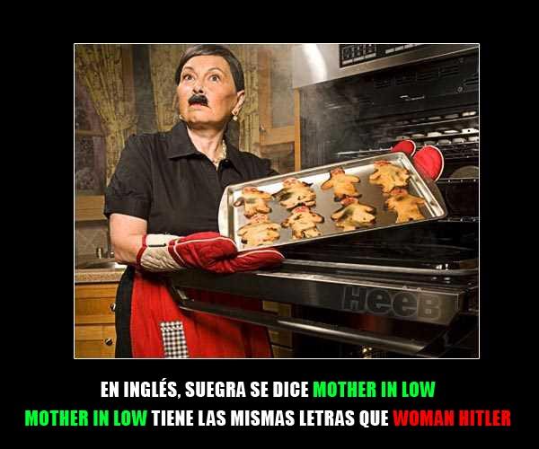 Señora con bigote de Hitler sacando galletas quemadas del horno
