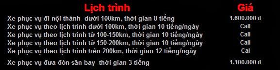 Bảng giá Cho thuê xe 4 chỗ Camry LE giá rẻ tại Hà Nội