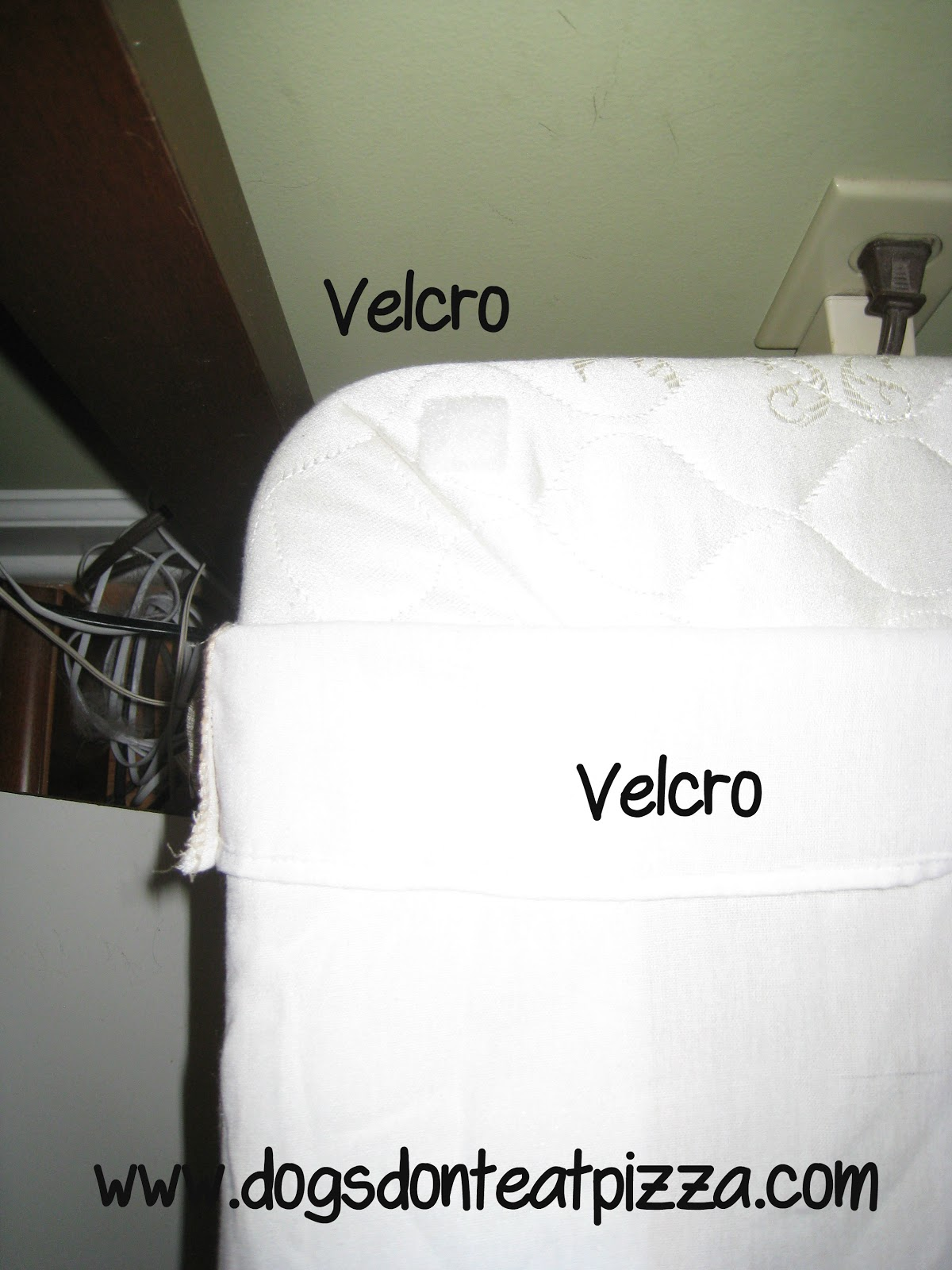 How to keep a bedskirt in place using velcro tape - thediybungalow.com