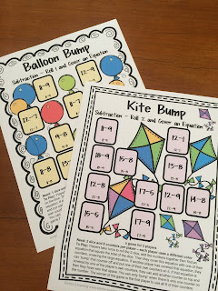 Subtraction Bump Games - 25 Printable Games